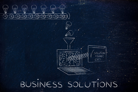 business software: business solutions: machine processing ideas and data into solutions, with production line, funnel and laptop