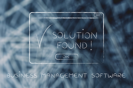 chalk outline: business management software: pop-up with message Solution Found and tick, flact chalk outline illustration Stock Photo
