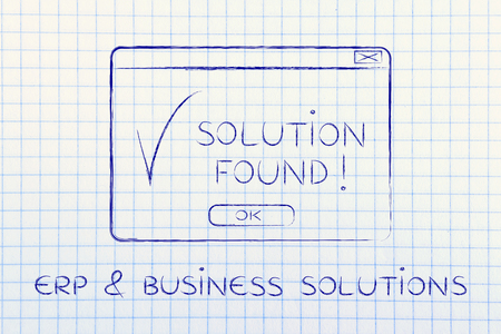 popup: ERP & business solutions: pop-up with message Solution Found and tick, flact chalk outline illustration Stock Photo