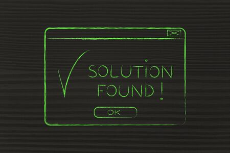 chalk outline: pop-up with message Solution Found and tick, flact chalk outline illustration Stock Photo