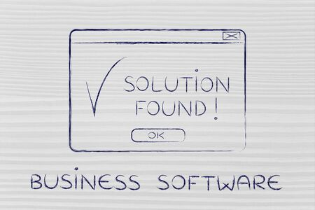 chalk outline: business software: pop-up with message Solution Found and tick, flact chalk outline illustration Stock Photo