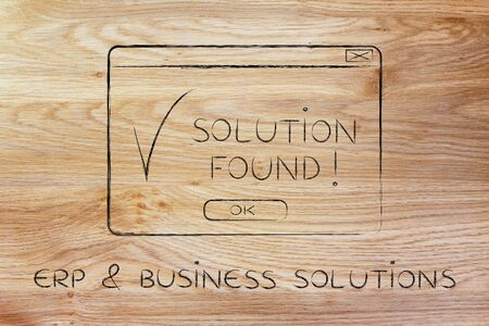 elaboration: ERP & business solutions: pop-up with message Solution Found and tick, flact chalk outline illustration Stock Photo