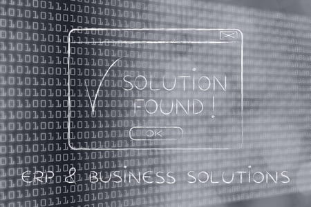 chalk outline: ERP & business solutions: pop-up with message Solution Found and tick, flact chalk outline illustration Stock Photo