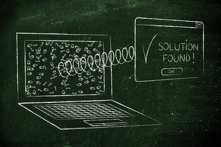 popup: pop-up with text Solution Found coming out of laptop with a spring, messy binary code on the screen Stock Photo