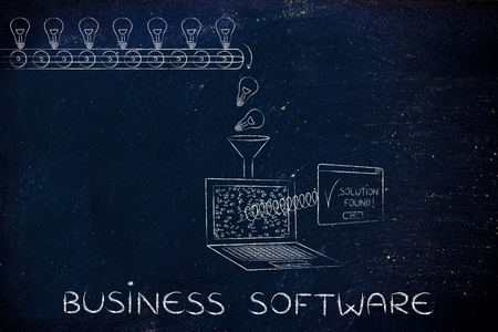 business software: business software: machine processing ideas and data into solutions, with production line, funnel and laptop