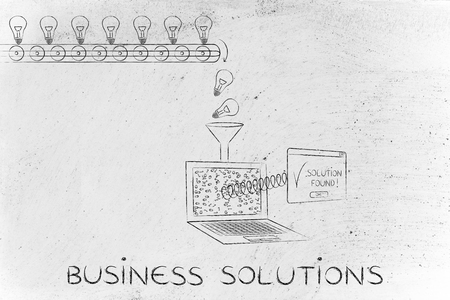elaboration: business solutions: machine processing ideas and data into solutions, with production line, funnel and laptop