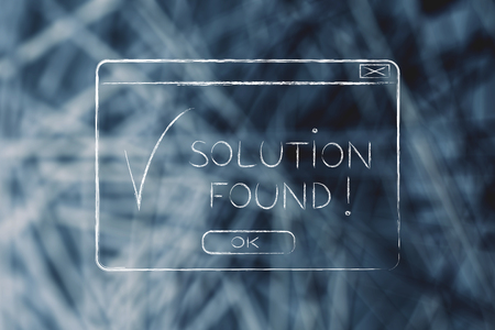 elaboration: pop-up with message Solution Found and tick, flact chalk outline illustration Stock Photo