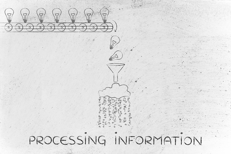 cloud based: processing information: machine processing ideas and knowledge into data to be spread around, with production line, funnel and cloud