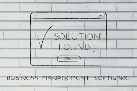 popup: business management software: pop-up with message Solution Found and tick, flact chalk outline illustration Stock Photo