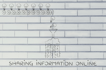 spread around: sharing information online: machine processing ideas and knowledge into data to be spread around, with production line, funnel and cloud
