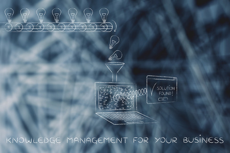 data management: knowledge management for your business: machine processing ideas and data into solutions, with production line, funnel and laptop