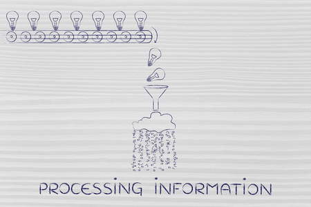 spread around: processing information: machine processing ideas and knowledge into data to be spread around, with production line, funnel and cloud