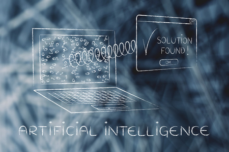 elaboration: artificial intelligence: pop-up with text Solution Found coming out of laptop with a spring, messy binary code on the screen Stock Photo