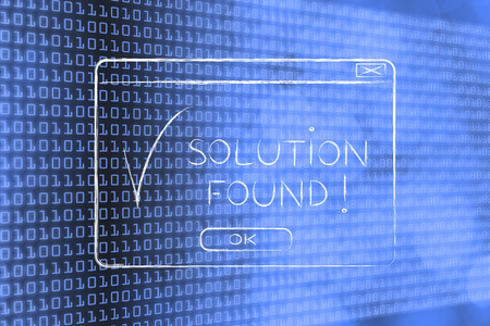 pop-up with message Solution Found and tick, flact chalk outline illustration Stock Photo