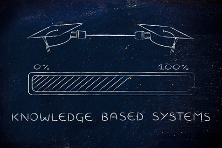 is based: knowledge based systems: graduation caps connected by plug and progress bar, concept of sharing ideas and expertise