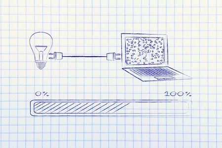 transforming: lightbulb and laptop connected by plug, with messy binary code being processed on the screen, concept of machine learning and artificial intelligence