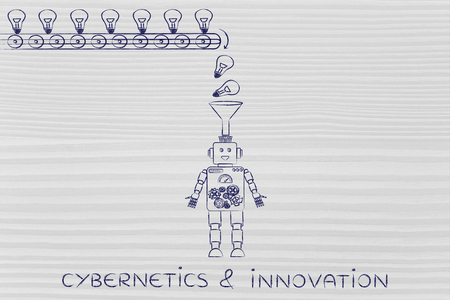 cybernetics: cybernetics & innovation: ideas & knowledge being dropped into a robots mind from a factory production line, concept of artificial intelligence