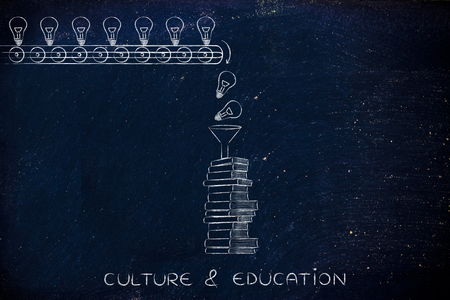 master degree: culture & education: knowledge & ideas being dropped into books through a funnel, concept of progress through education