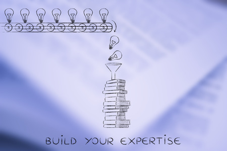 master degree: buid your expertise: knowledge & ideas being dropped into books through a funnel, concept of progress through education Stock Photo