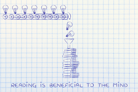 beneficial: reading is beneficial to the mind: knowledge & ideas being dropped into books through a funnel, concept of progress through education