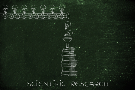 scientific research: knowledge & ideas being dropped into books through a funnel, concept of progress through education