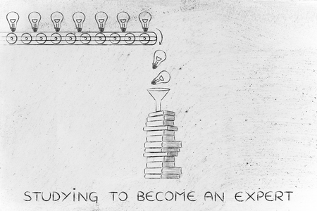 become: studying to become an expert: knowledge & ideas being dropped into books through a funnel, concept of progress through education Stock Photo