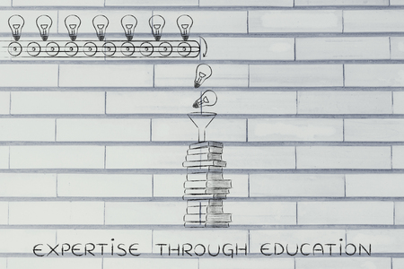 master degree: expertise through education: knowledge & ideas being dropped into books through a funnel, concept of progress through education