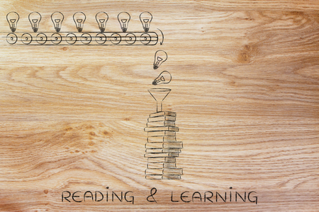 master degree: reading & learning: knowledge & ideas being dropped into books through a funnel, concept of progress through education