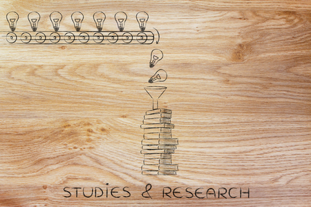 master degree: studies & research: knowledge & ideas being dropped into books through a funnel, concept of progress through education