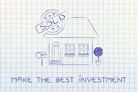 make an investment: make the best investment: funny house with 5 stars rating and text Sold Stock Photo
