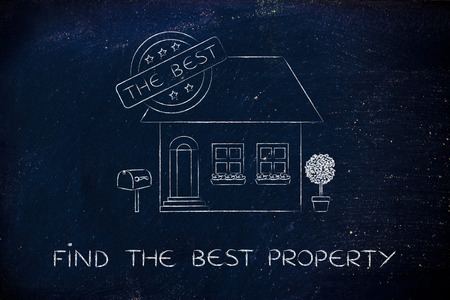 building sector: find the best property: funny house with 5 stars rating and text The Best