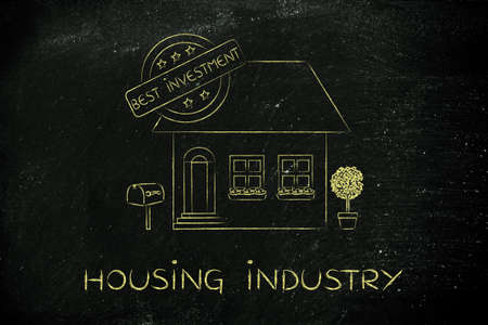 housing industry: housing industry: funny house with 5 stars rating and text Best Investment
