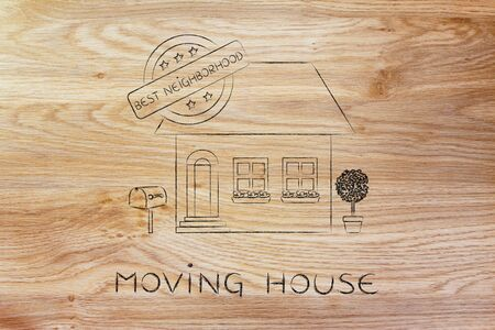 building sector: moving house: funny house with 5 stars rating and text Best Neighborhood Stock Photo