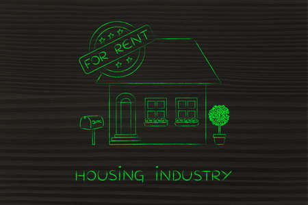 housing industry: housing industry: funny house with 5 stars rating and text For Rent