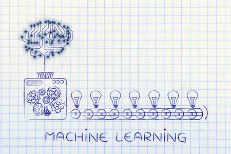 Apprentissage de la machine: circuit électronique cerveau sur la machine de l'usine de production d'idées Banque d'images - 55392952