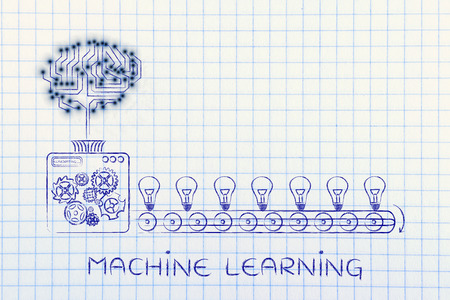 machine learning: electronic circuit brain on factory machine producing ideas Banco de Imagens