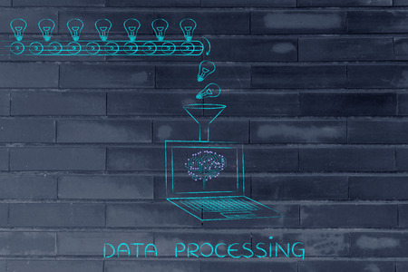 elaboration: data processing: production line with idea lightbulbs being processed by laptop with microchip brain on screen