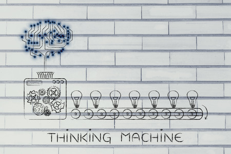 thinking machine: thinking machine: electronic circuit brain on industrial factory producing ideas