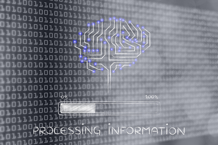 thinking machines: processing information: electronic circuit brain elaborating data, with progress bar loading Stock Photo