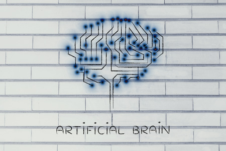 artificial lights: artificial brain: robotic brain made of microchip ciircuits with led lights Stock Photo