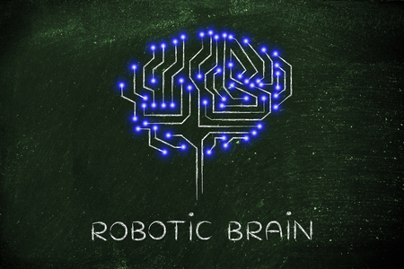 microchip: robotic brain made of microchip ciircuits with led lights Stock Photo