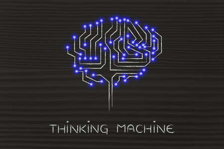 thinking machine: thinking machine: robotic brain made of microchip ciircuits with led lights Stock Photo