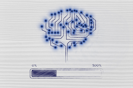 thinking machines: electronic circuit brain processing or elaborating data, with progress bar loading