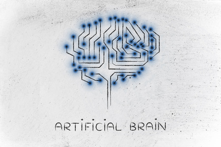 artificial brain: robotic brain made of microchip ciircuits with led lights Stock Photo