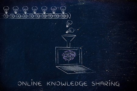 elaboration: online knowledge sharing: production line with idea lightbulbs being processed by laptop with microchip brain on screen
