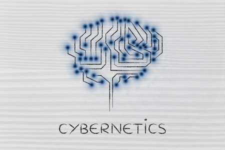 cybernetics: cybernetics: robotic brain made of microchip ciircuits with led lights Stock Photo