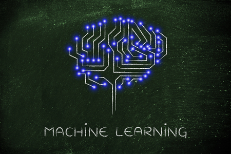 cybernetics: machine learning: robotic brain made of microchip ciircuits with led lights