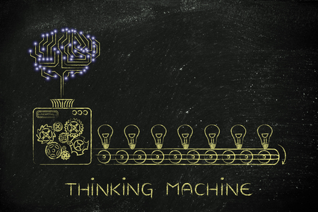 thinking machines: thinking machine: electronic circuit brain on industrial factory producing ideas