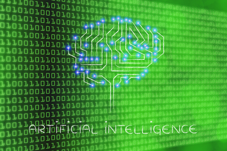 artificial lights: artificial intelligence: robotic brain made of microchip ciircuits with led lights Stock Photo