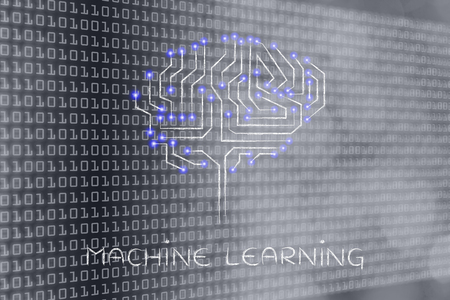 machine made: machine learning: robotic brain made of microchip ciircuits with led lights